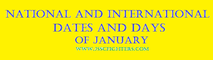 National and International Dates and days of January
