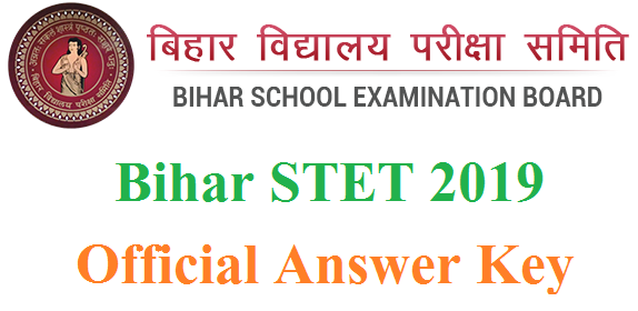 bihar Stet 2019 Official Answer key